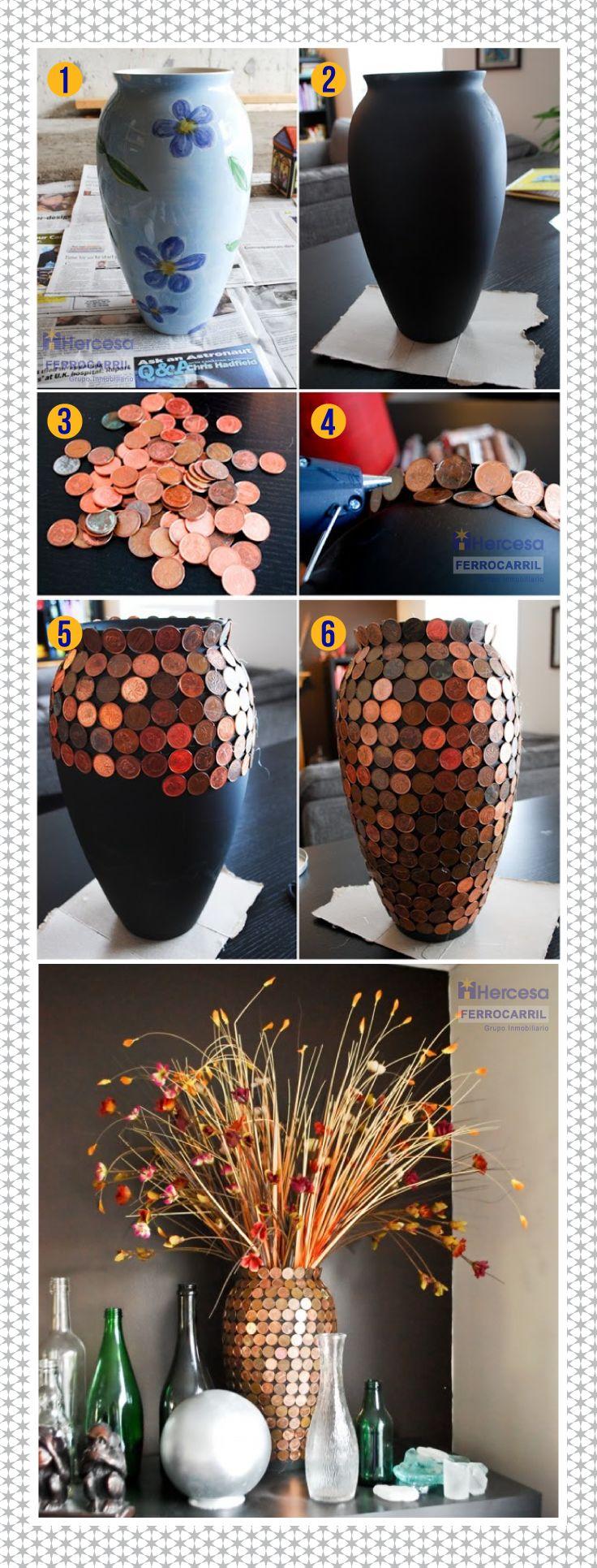 Si tienes monedas viejas dales un toque útil y creativo, haciendo un lindo florero para decorar tu hogar. #Tips #HercesaYFerrocarril #Monedas #Flores #florero #decora