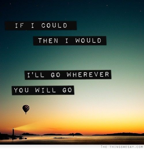 If I could then I would Ill go wherever you will go