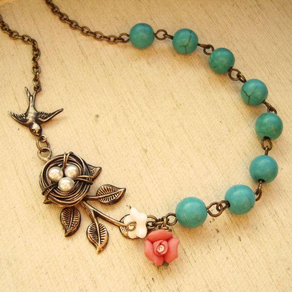 Estilo vintage collar de nido de pájaros alambre por luxedeluxe, $45.00