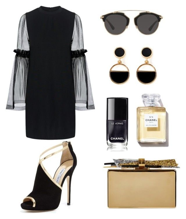 """Black Elegan"" by meysiskatikha on Polyvore featuring Mother of Pearl, Jimmy Choo, Edie Parker, Warehouse and Christian Dior"