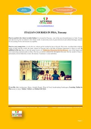 Learnitalianonline info pdf  Italian Courses in Pisa