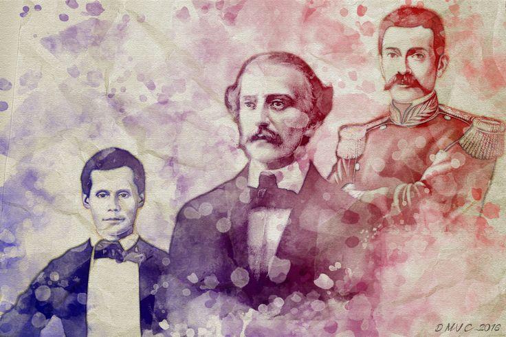 Padres de la patria, República Dominicana. Juan Pablo Duarte, Ramón Matías Mella, Francisco Del Rosario Sánchez.
