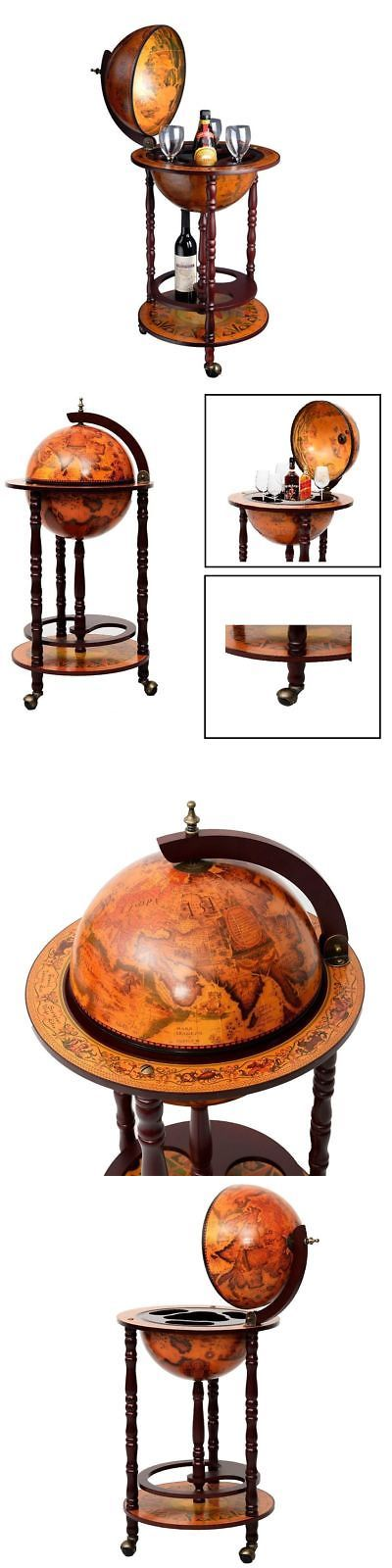 Bar Carts and Serving Carts 183320: Mini Bar Cart Cabinet Wine Rack Liquor Bottle Glass Storage Stand Vintage Globe -> BUY IT NOW ONLY: $86.95 on eBay!
