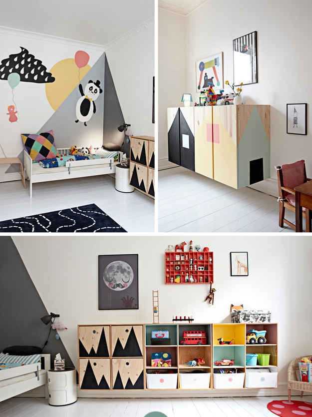 This artfully designed boy's room is a visual adventure.