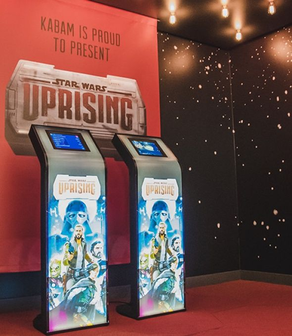 Armodilo iPad Kiosk being used by Kabam to promote their new game: Star Wars Uprising in their corporate offices.