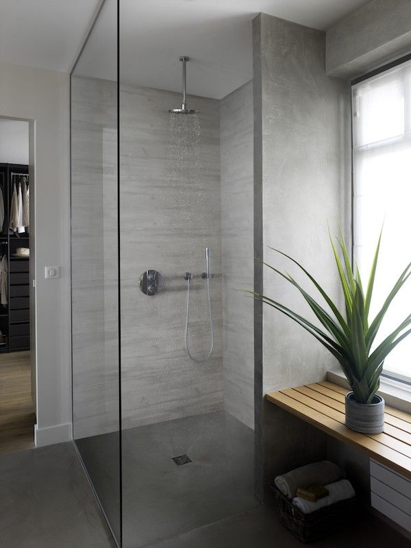 Lambris Pvc Element Wood Aboutable Bois Rabote Gris Bathroom Remodel Shower Small Bathroom Diy Shower Remodel