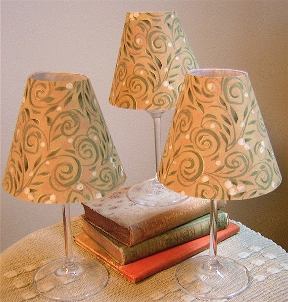 Fabric shades for wine glasses