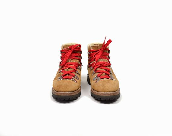 Beautiful Vintage Tan Leather Hiking Boots With Red Laces Women39s
