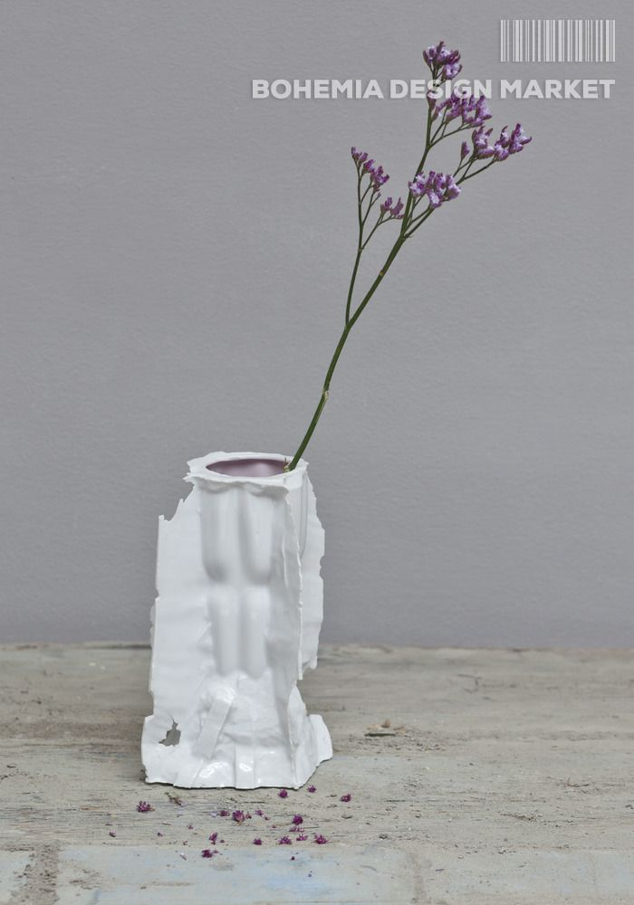 Vase created by chopping the negative form into plaster block. Sizes 20x13x13cm