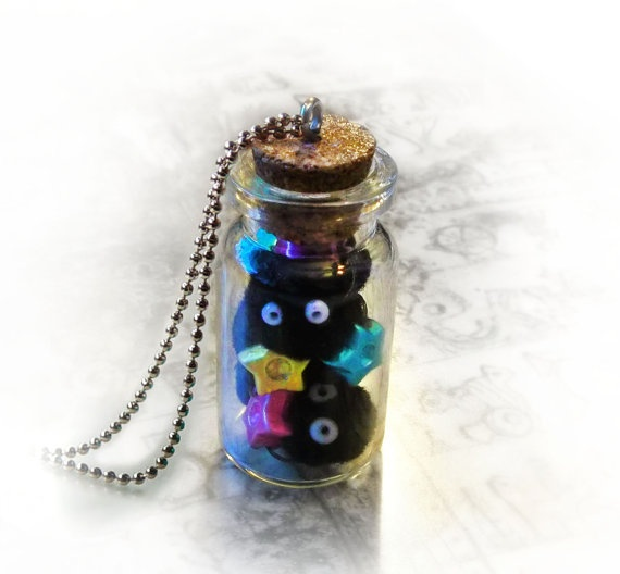 Soot spirits in a bottle necklace