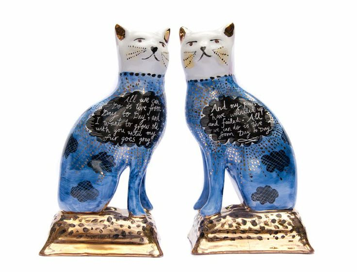 """Hand-painted ceramic cats. Rob Ryan. Wedding Vows: """"All we can do is live from day to day, and I want to grow old with you until my fur grows gray."""""""