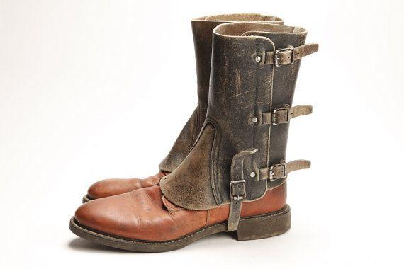Ghette in pelle vintage Mens F  stivali di MetropolisNYCVintage
