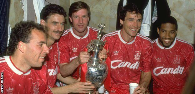Liverpool's Ronnie Rosenthal, Ian Rush, Ronnie Whelan, Alan Hansen and John Barnes celebrate winning the league title in 1990, the season after the Hillborough disaster