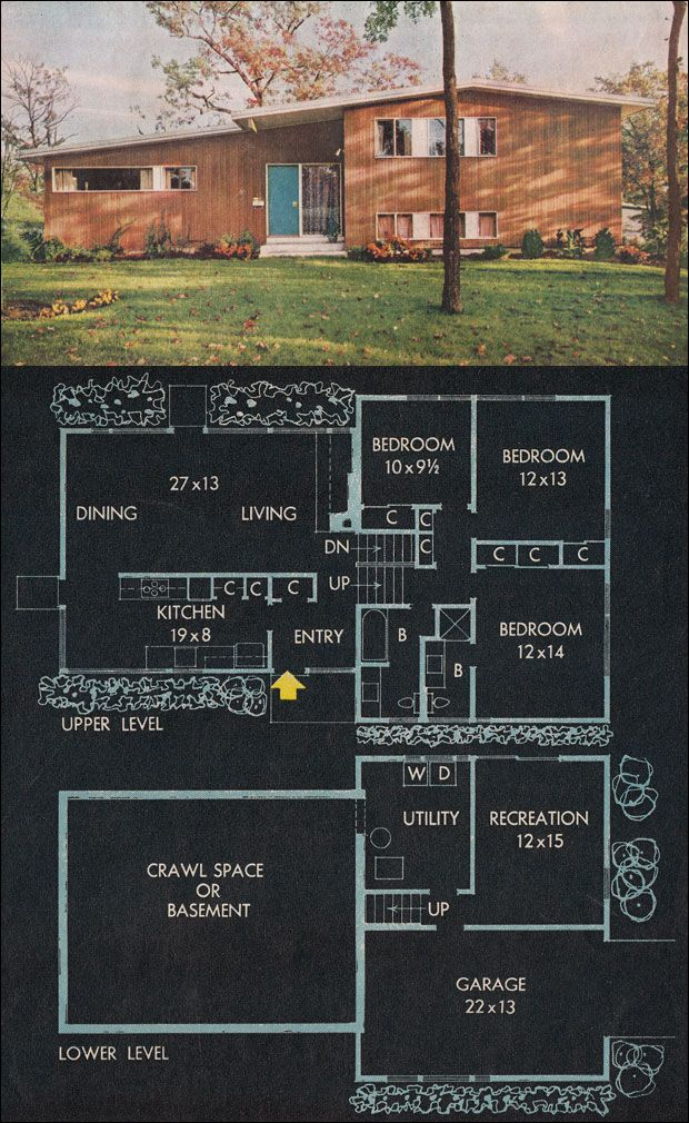 Love split level mid century modern floor plan repinned for Types of split level homes