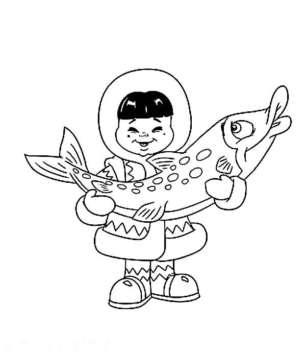 An Eskimo Boy Holding Big Fish Coloring Page Color Luna Fish