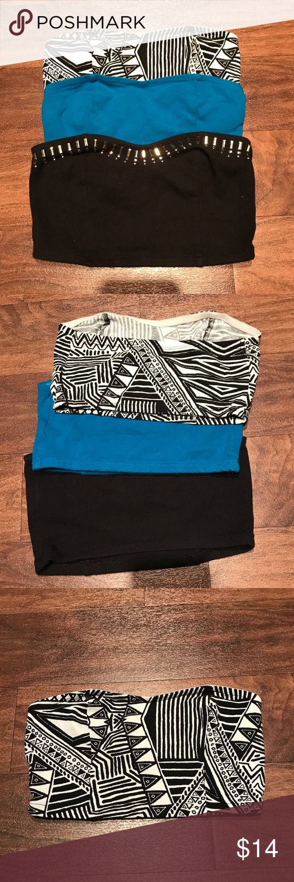 Lot of 3 Decree Bandeau Tops Lot of 3 really cute bandeau tops. Size XS. Elastic around the top and bottom, no padding. They're still in really great shape, I've worn them each maybe once or twice. The black one has gold and silver sequins. Perfect for summer time! Decree Intimates & Sleepwear Bandeaus