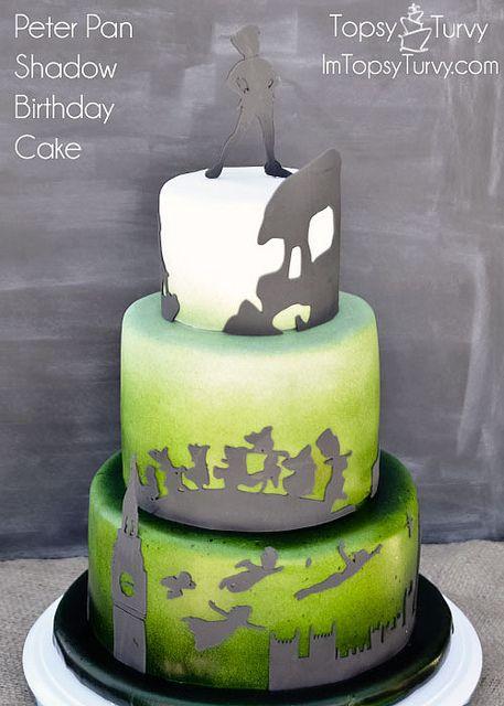 peter-pan-silhouette-shadow-ombre-fondant-birthday-cake by imtopsyturvy.com, via Flickr