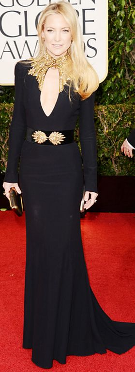 Who made  Kate Hudson's black and gold gown that she wore to the 2013 Golden Globes in Beverly Hills?