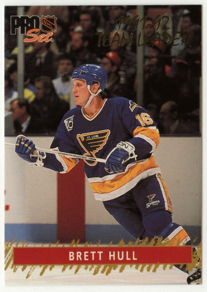 Brett Hull # 8 - 1992-93 NHL Pro Set Hockey Gold Team Leaders