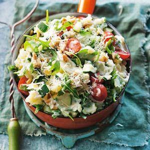 Recept - Rucola-basilicumstamppot met tomaten - Allerhande