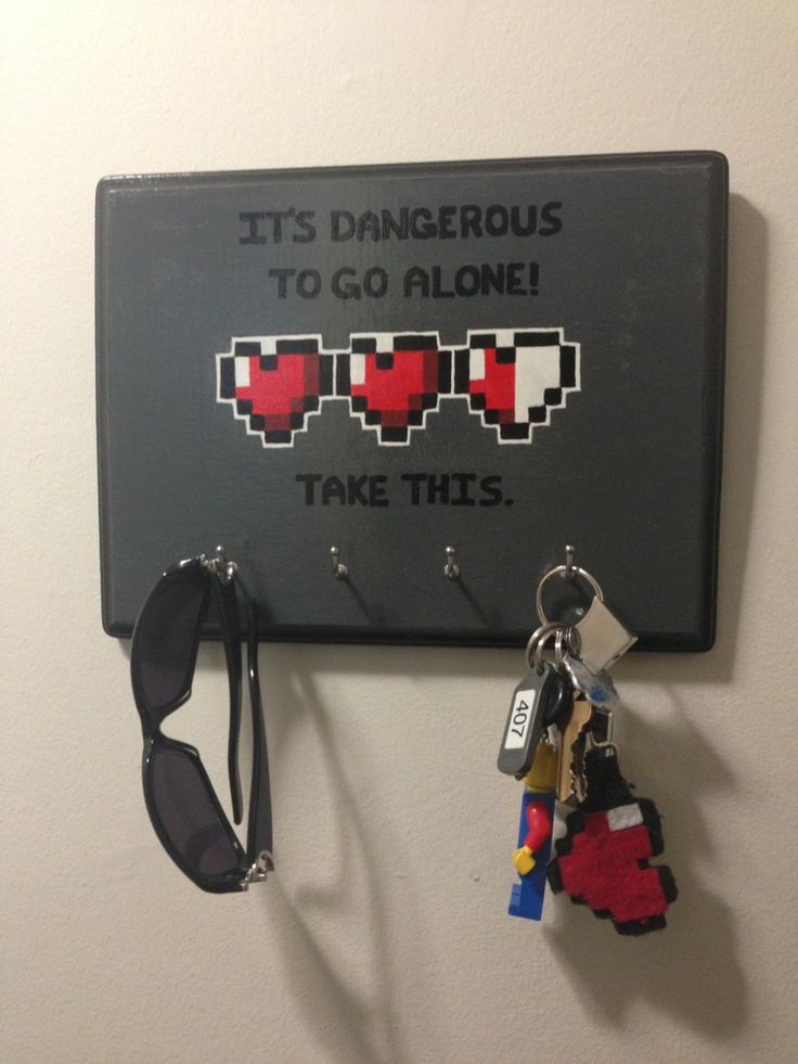 I made this to hold my keys and (prescription) sunglasses. It's dangerous to go alone! - Imgur