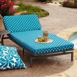alyssa blue dot adjustable outdoor chaise with corded cushion