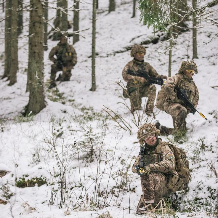 Soldiers from The Royal Welsh patrol in woodland in Estonia. The troops are the lead element in the NATO enhanced Forward Presence Battlegroup. #efp #deployed #troops #army #green #snow#cold #battlegroup #NATO #Estonia #Baltic#Winter Image by Siim Teder, Estonian Defence Forces.