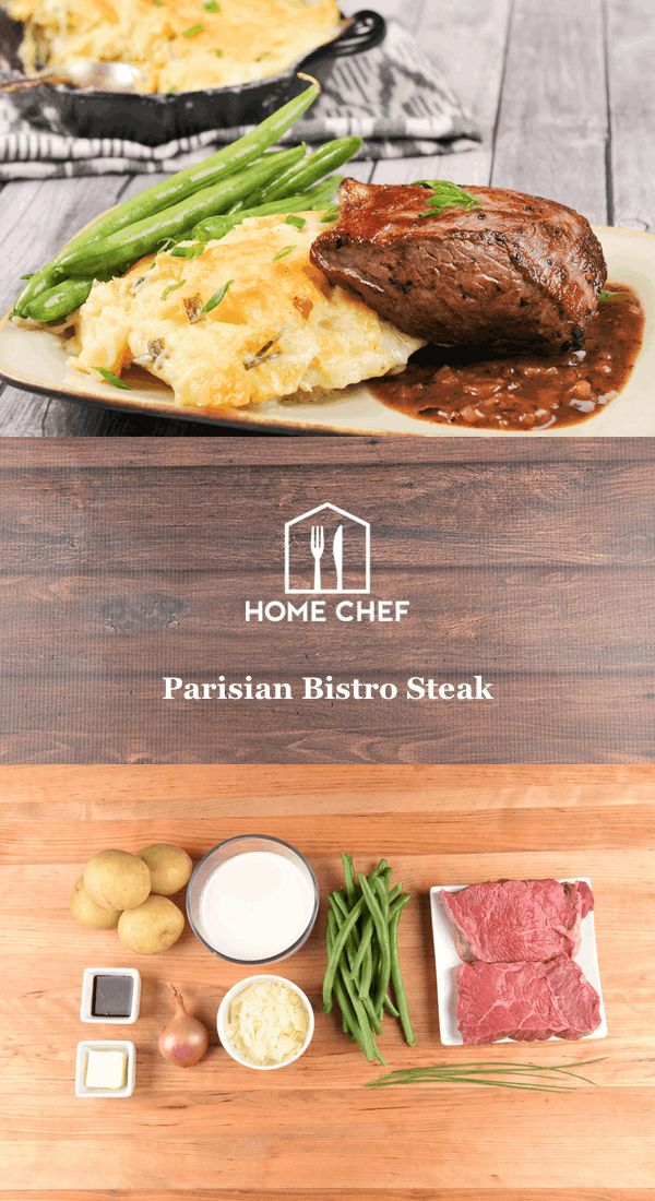 Imagine strolling the streets of Paris, wending your way between beautiful buildings. Such a memorable day deserves a traditional French meal. This meal is reminiscent of what you'd receive if you claimed a cozy table in a Parisian bistro: a tender steak in a rich, velvety sauce next to a creamy potato gratin.