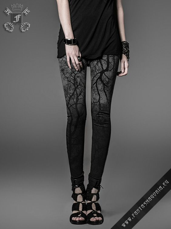 Black tree leggings! Would be better with less black and more color!