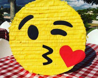 "18"" Emoji Piñata, Kissing Emoji Piñata, Emoticon Piñata, Emoji Birthday, Emoji Party, Smiley Face Piñata, Handmade Piñata, Kissing Emoji"