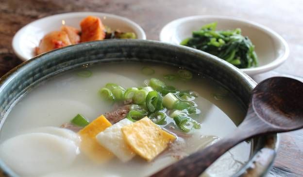 In Korea, New Year is celebrated during a three-day holiday happening on February 10th.  Our pick is the Tteokguk (떡국), a traditional soup with sliced rice cakes that are customarily eaten for the New Year. Following suit with the East Asian age reckoning (a way of counting a person's age by each Lunar New Year) the Korean New Year is essentially a birthday for Koreans. That means eating a Tteokguk is like eating your birthday cake: when all is had and gone, you're officially one year older!