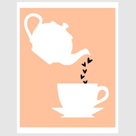birthday anniversary tea kettle and mug illustration by EcoPrint, Etsy, *CC*: Apply, Anniversaries Teas, Birthdays, Illustrations Paper, Birthday Anniversaries, Art 3, Cuppa Teas, De Té, Teas Kettles