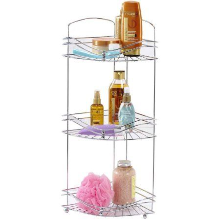 Organize your shower with this beautiful Bathroom Corner Shelf 3 Metal Rack Tray Cosmetics Storage Unit.This chrome organizer is durable and spacious enough to hold all your bath items securely.It includes eight hooks and two shelves to keep everything secure and organized.