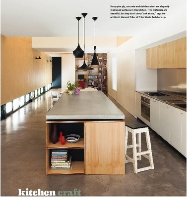 concrete bench and clever cabinetry... house by architect hannah tribe