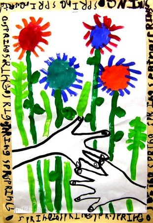 Picasso Idea - outline hands in wide marker, add fingernails - paint flowers around hands - glue onto larger paper in different color and paint words on it.