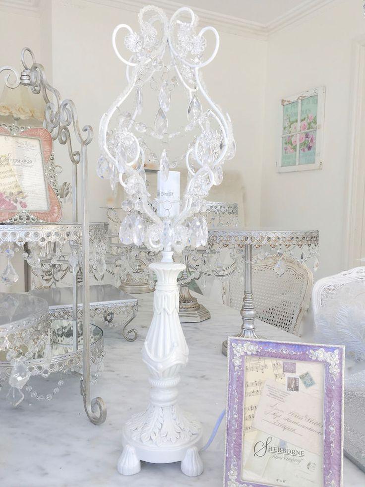 Hamptons Chandelier Beaded Desk Table White Light Lamp Crystal Prisms Lighting