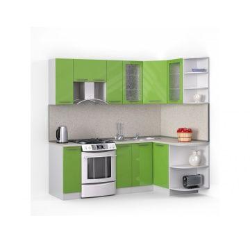 Угловая кухня «Хай-тек» эвкалипт, глянец 2,2х1,3м