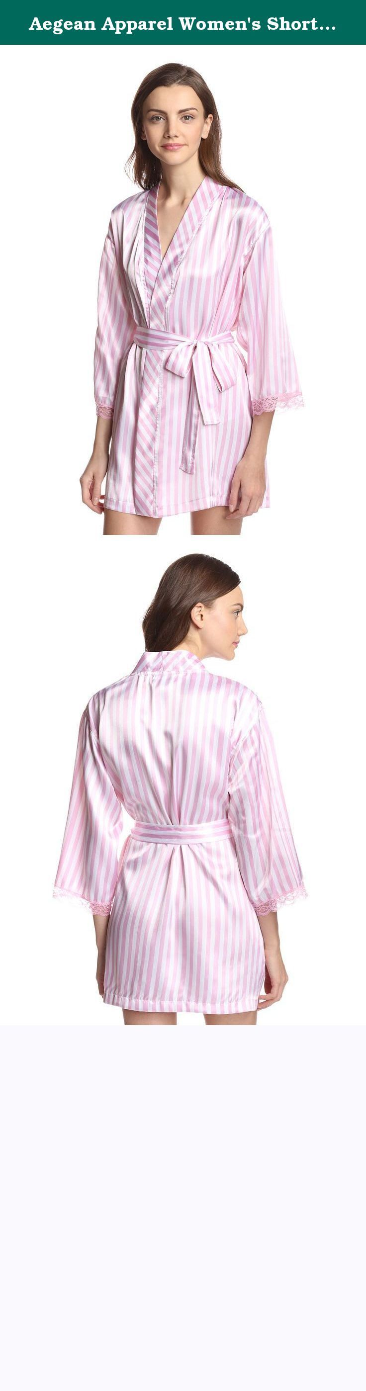 Aegean Apparel Women's Short Kimono Seafolly Stripe Printed Satin Robe M Pink. Classic short satin robe with removable tie belt, cropped sleeves and lace trim, on-seam pockets.