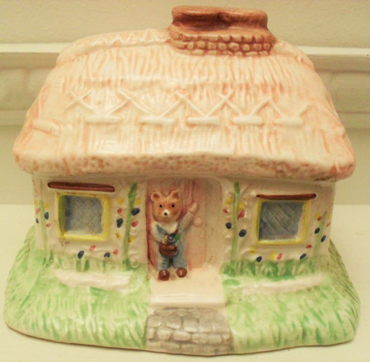Money Box KITSCH COTTAGE Retro Cottage Money Box Thatched Cottage Children's Money Box RETRO Christmas Gift Pink and Green Decor Teddy Bear by BigGirlSmallWorld on Etsy
