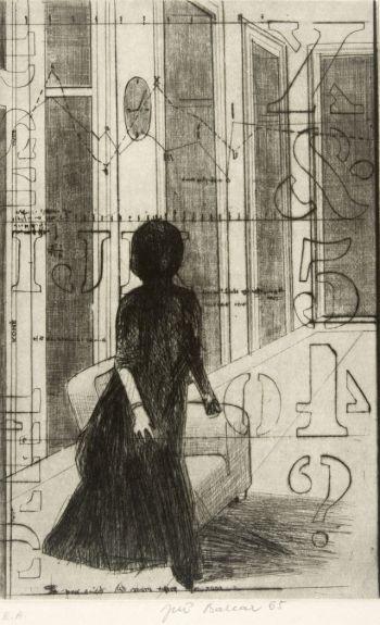 Jiri Balcar, Lady (Dama), Drypoint, Etching, Print