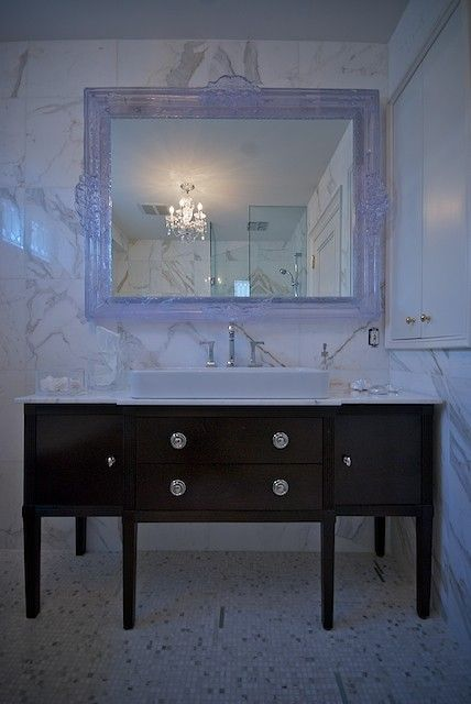 Lucid interior design bathrooms white baroque mirror for Baroque style bathroom