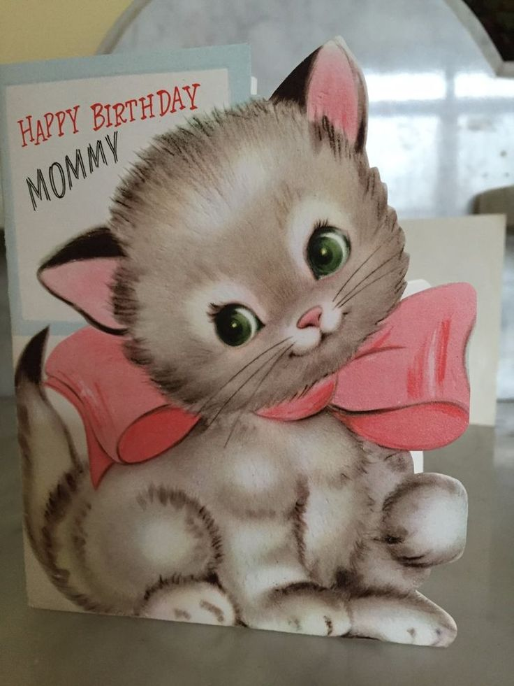 UNUSED VINTAGE 50'S DIE CUT HAPPY BIRTHDAY MOMMY GREETING CARD & ENVELOPE KITTEN