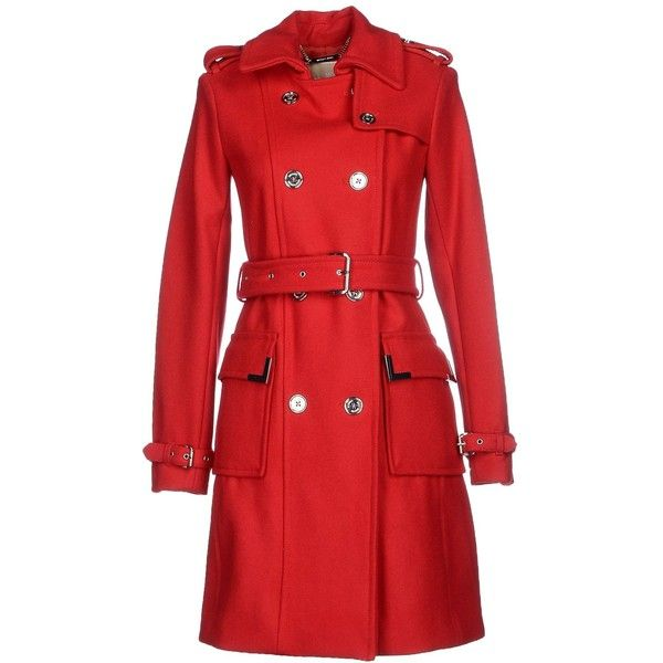 Michael Michael Kors Coat ($275) ❤ liked on Polyvore featuring outerwear, coats, red, double-breasted coat, red trenchcoat, wool trench coat, red coat and double breasted wool coat