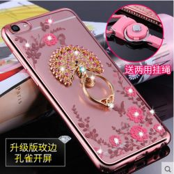 Silicone Case OPPO R9s, OPPO R9s Plus Shiny Rhinestone Diamond Bling Flower Illustration Transparent Clear Electroplated TPU Cover + Lazy Ring Rotating Bracket Stand
