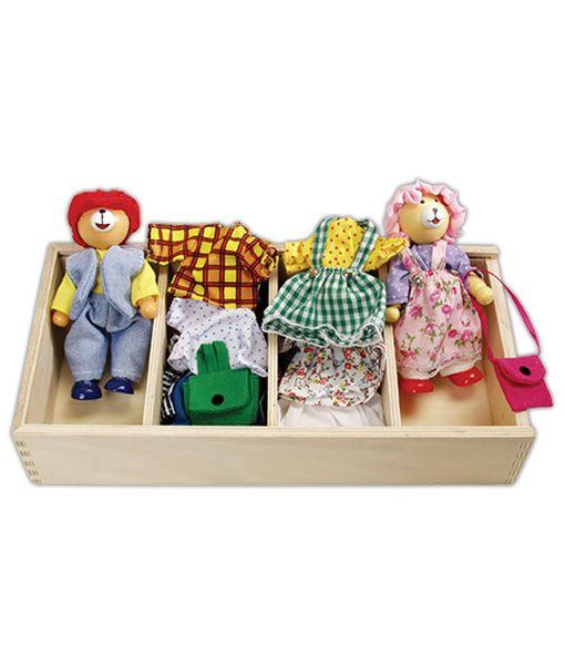 Acești ursuleți îmbrăcabili din lemn sunt foarte drăguți, cu setul de hainuțe și accesorii pot deveni personajele îndrăgite ale copiilor: pot fi ursuleți prieteni dragi, ursuleți părinti grijulii, preșcolari, turiști sau orice ce se naște în mintea fetițelor sau băieților de 3-6 ani. jucariionline.eu/produse/ursuleti-imbracabili/