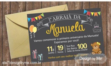 Convite de aniversário no tema Festa Junina (do site Elo7). Uma graça!