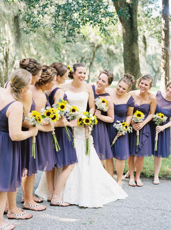 Purple bridesmaid dresses for Sunflower dresses for wedding
