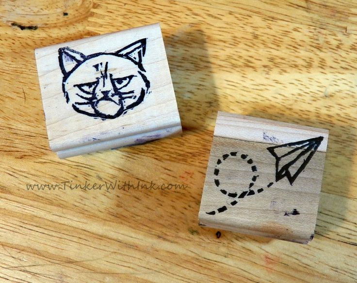 Grumpy Kitty and airplane stamps carved by Cristy Butzen