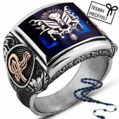 Mavi Mineli Osmanlı Arması Simgeli Tuğra Motifli 925 Ayar Gümüş Erkek Yüzük
