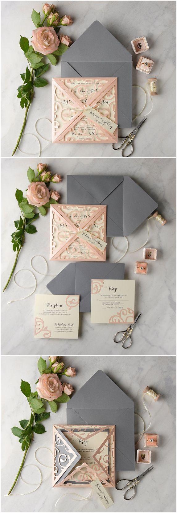 Lace Laser Cut Wedding Invitationa Set, Peach Grey Wedding Invitation, Vintage W...